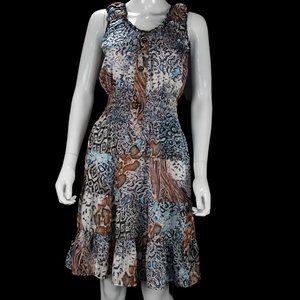 NWT Lapis Sleeveless Animal Print Sheer Dress